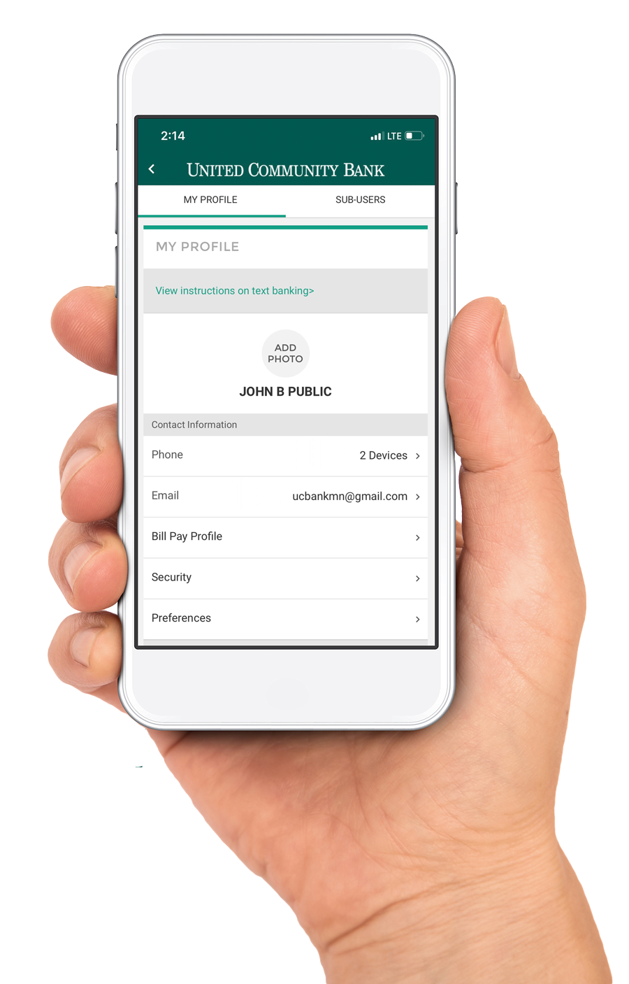 hand holding phone with Digital Banking App Profile Settings on the screen